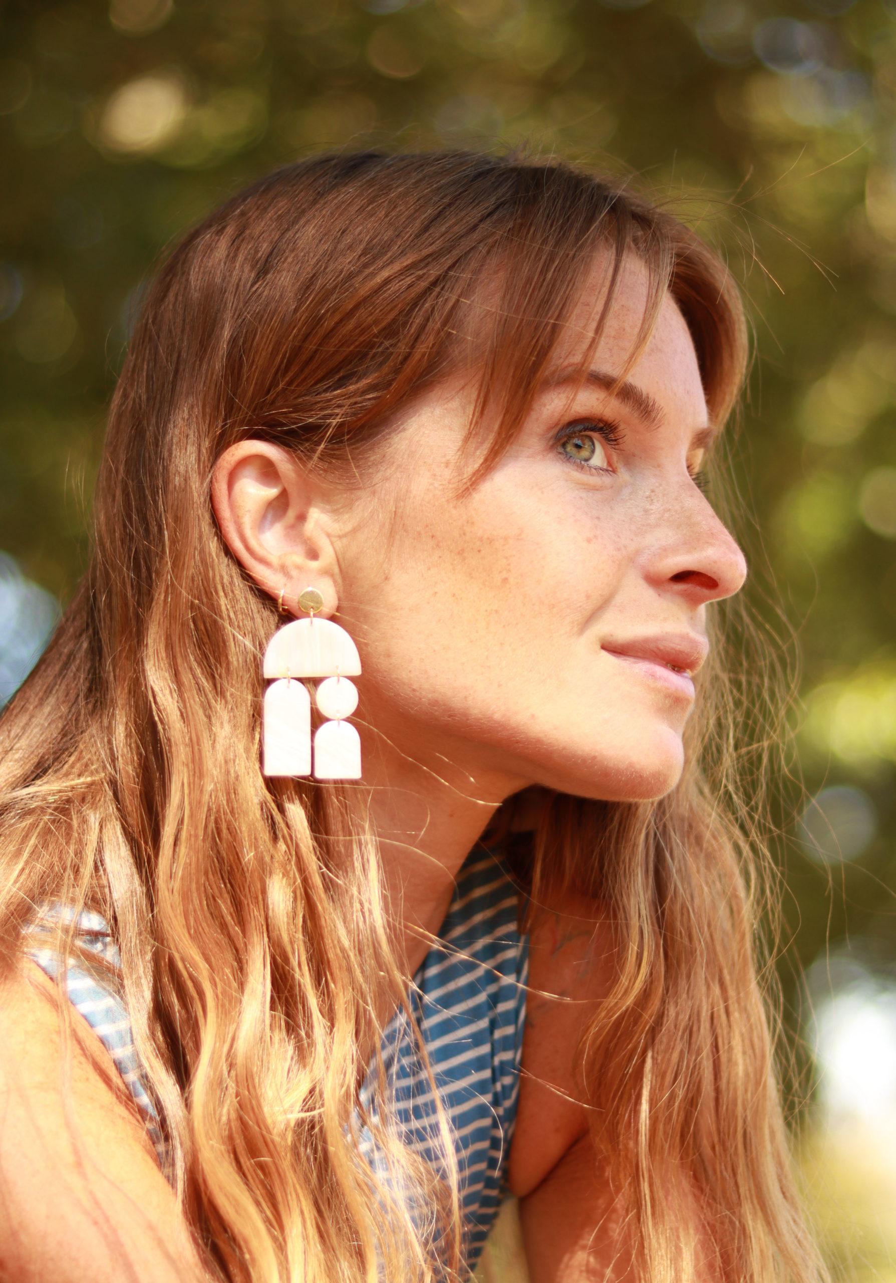 Bijoux pour femme, boucles d'oreilles en argile polymère KOUKLAKI