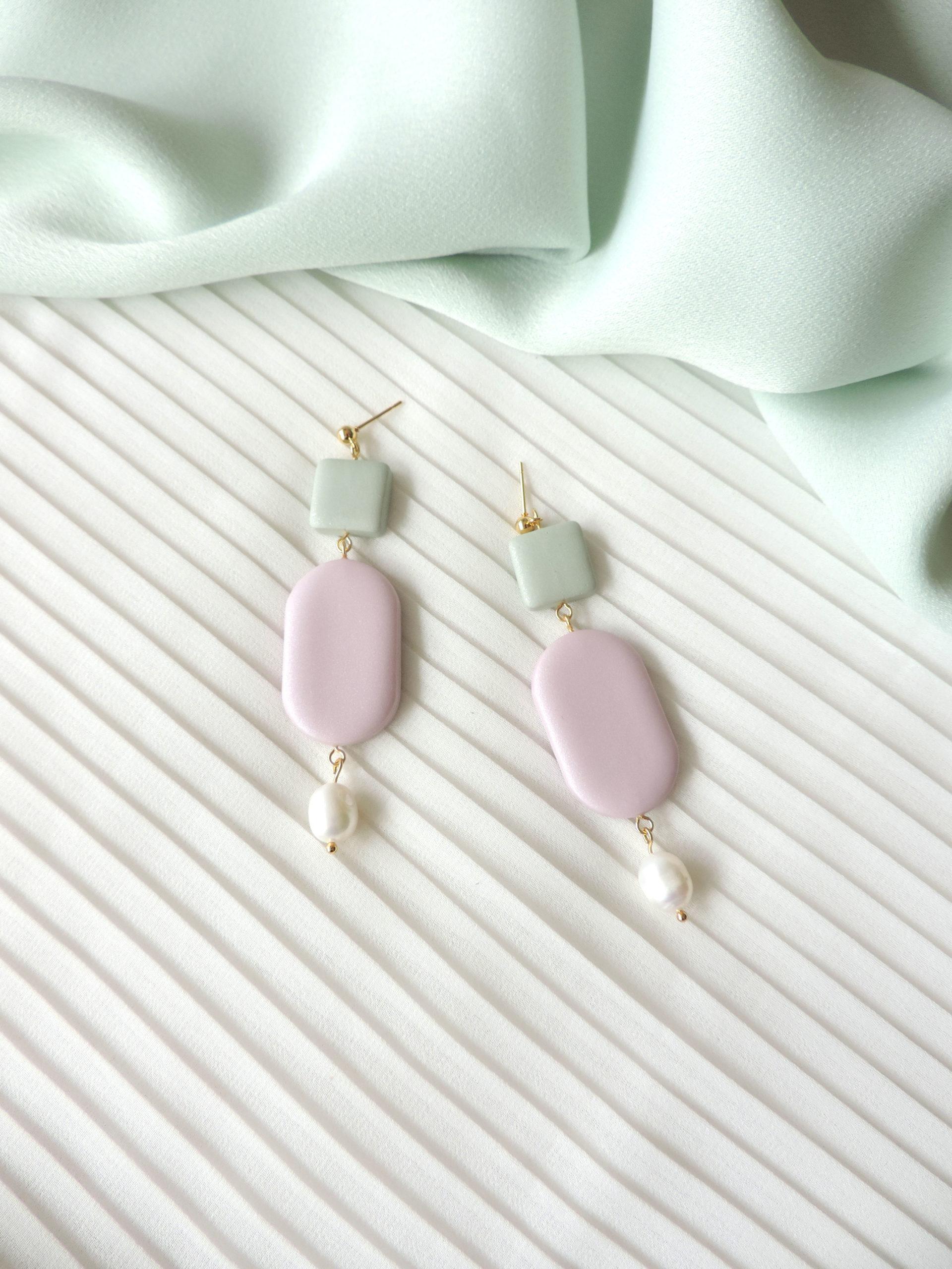 Collection HEMERA, bijoux, boucles d'oreilles argile polymère KOUKLAKI