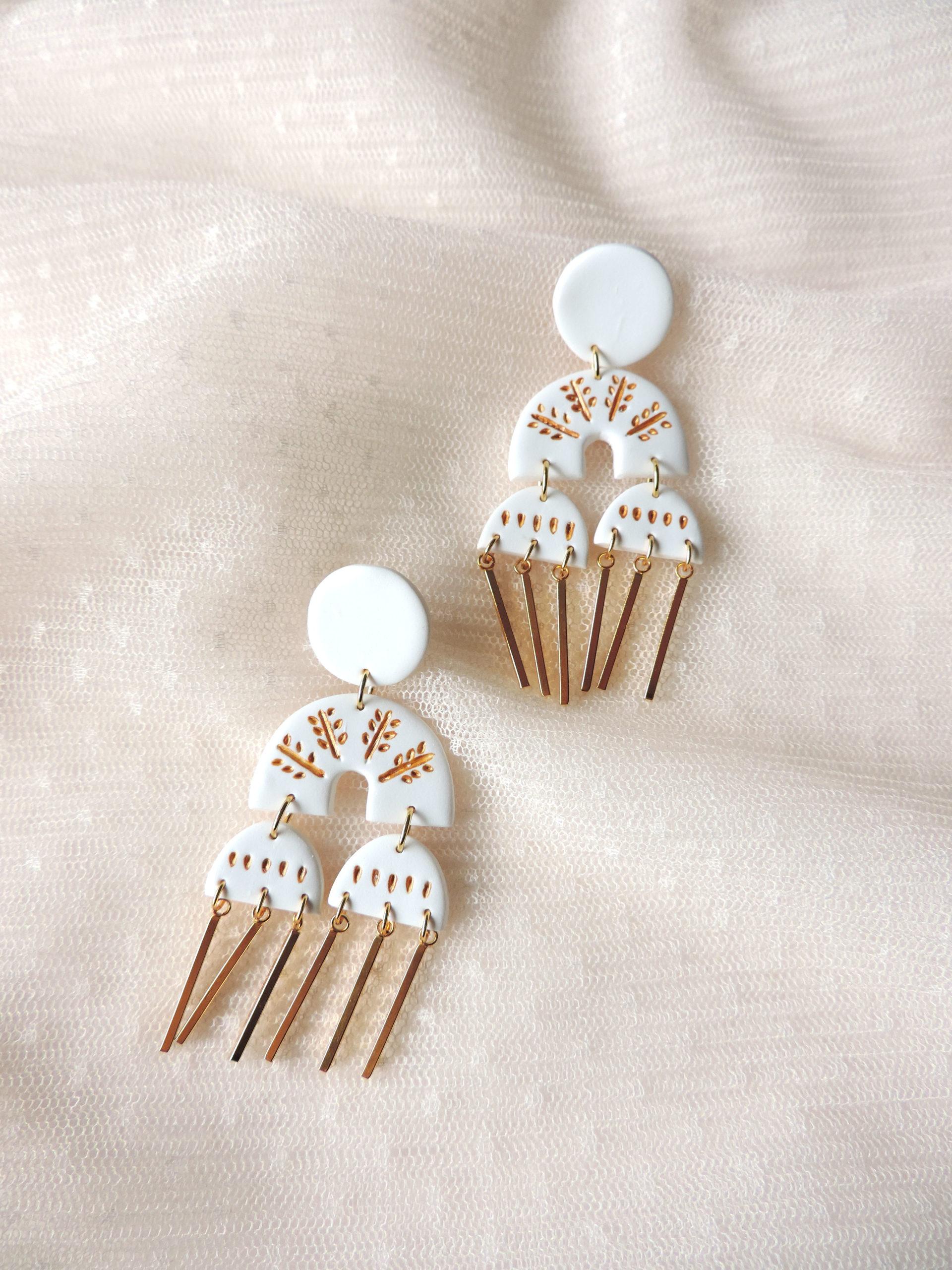 Collection AURA, bijoux, boucles d'oreilles en argile polymère KOUKLAKI
